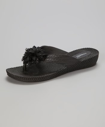 Black Lace Flower Wedge Sandal