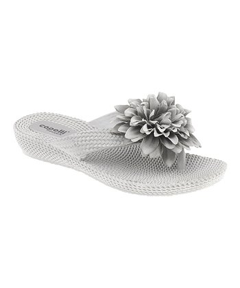 Silver Lace Flower Wedge Sandal