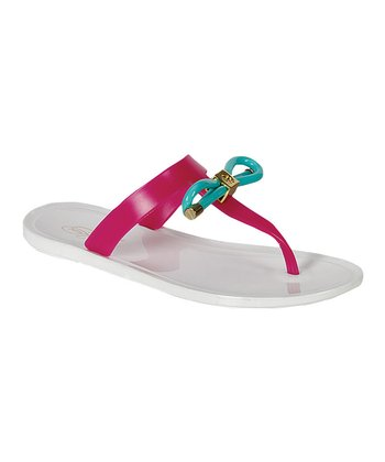 White Two-Tone Bow Fun Sandal