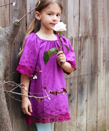 Purple Embroidered Shift Dress - Toddler