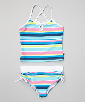 Nautica White & Pink Stripe Tankini - Infant, Toddler & Girls