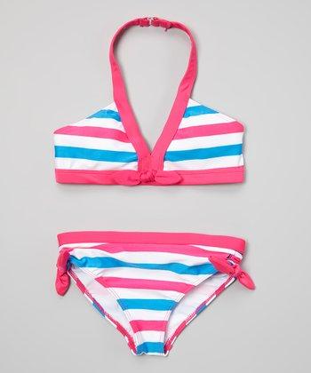Nautica Pink & Blue Stripe Bikini - Infant, Toddler & Girls