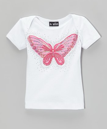 Pink Rhinestone Butterfly Lap Neck Tee - Infant