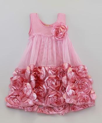 Mia Belle Baby Dusty Rose Rosette Dress - Toddler & Girls