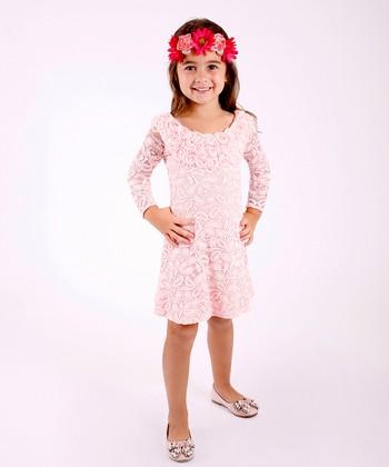 Mia Belle Baby Pink Floral Rosette Swing Dress - Toddler & Girls