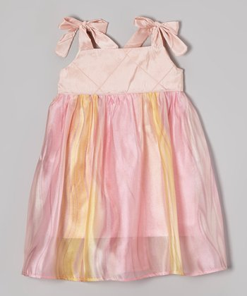 Summers Closet Coral & Pink Tie Silk-Blend Dress - Toddler