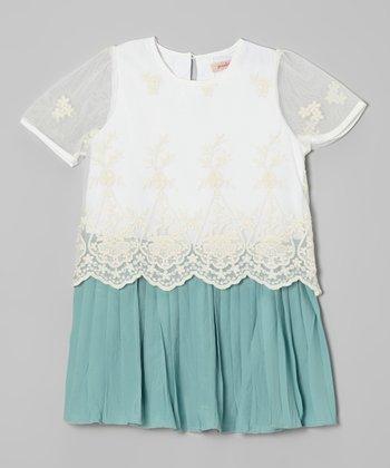 Green & White Lace Dress - Toddler & Girls