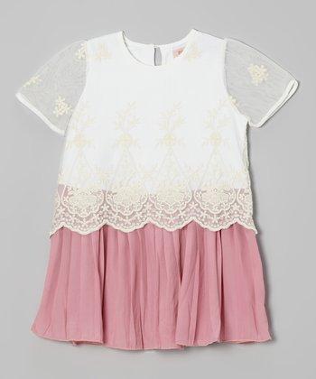 Pink & White Lace Dress - Toddler & Girls