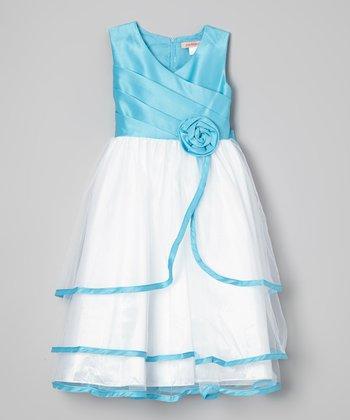 Blue & White Split Ruffle Dress - Toddler & Girls