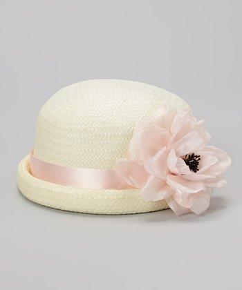 Ivory & light Pink Flower Straw Hat