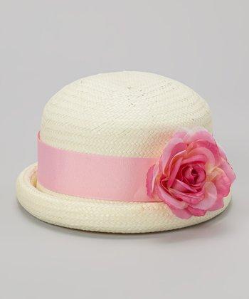 Ivory & Fuchsia Flower Straw Hat