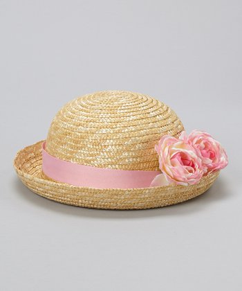 Natural &  Pink Flowers Straw Hat