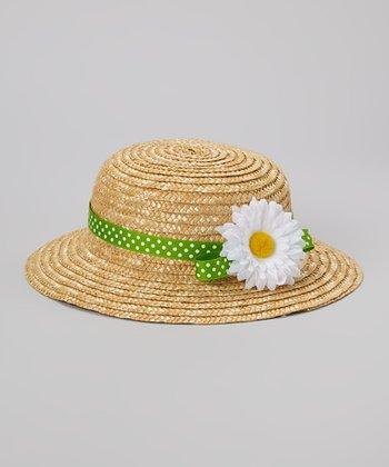 Natural & Green Daisy Straw Hat