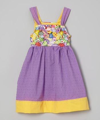 Petite & Posh Purple & Yellow Easter Eggs Knot Dress - Toddler & Girls