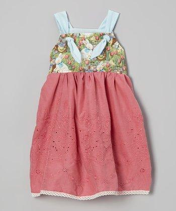 Petite & Posh Green & Rose Easter Bunny Knot Dress - Toddler & Girls