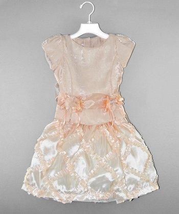 Coral Ruffle & Bows Dress - Girls