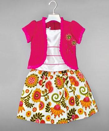 Fuchsia & Yellow Floral Mock-Shrug Top & Skirt - Girls