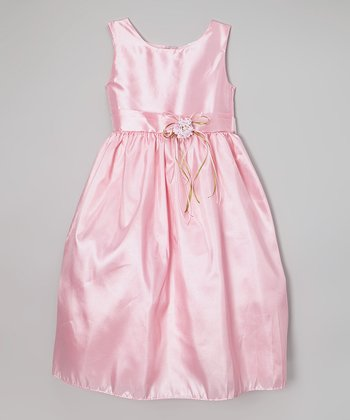 Pink Satin Dress - Infant, Toddler & Girls