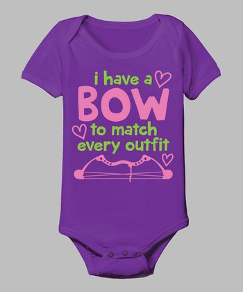 Purple 'A Bow To Match Every Outfit' Bodysuit - Infant