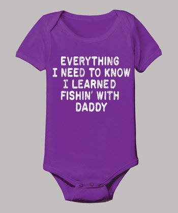 Purple 'I Learned Fishin' with Daddy' Bodysuit - Infant