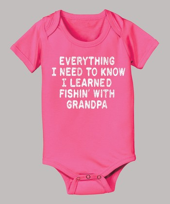 Raspberry 'Learned Fishin' with Grandpa' Bodysuit - Infant