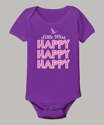 Purple 'Little Miss Happy' Bodysuit - Infant