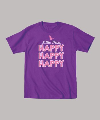 Purple 'Little Miss Happy' Tee - Toddler & Girls