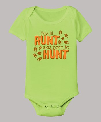 Key Lime 'This Lil Runt Was Born To Hunt' Bodysuit - Infant