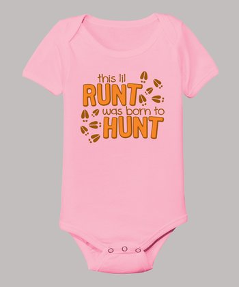 Light Pink 'This Lil Runt Was Born To Hunt' Bodysuit - Infant