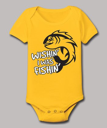 Yellow 'Wishin' I Was Fishin'' Bodysuit - Infant