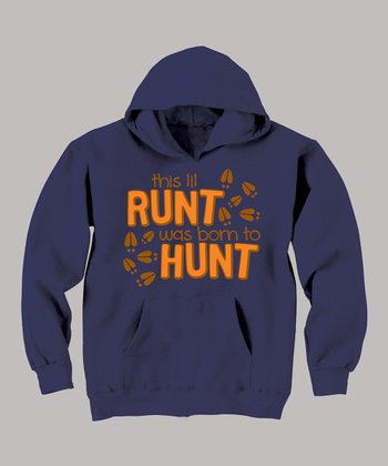 Navy 'This Lil Runt Was Born to Hunt' Hoodie - Toddler & Boys