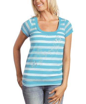 Turquoise Stripe Burnout Top - Women