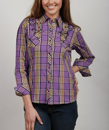 Purple Plaid Filigree Button-Up - Women