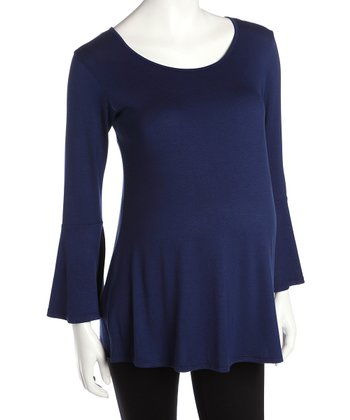 Navy Bell Sleeve Maternity Top