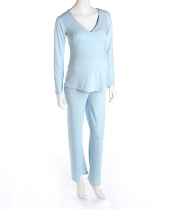 Blue Maternity & Nursing Pajamas