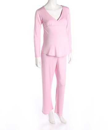 Pink Maternity & Nursing Pajamas