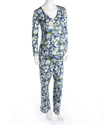 Blue Floral Maternity & Nursing Pajamas