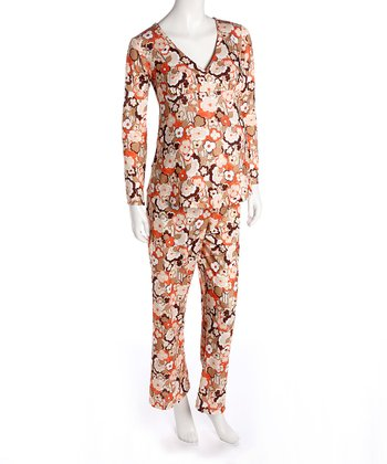 Orange Floral Maternity & Nursing Pajamas