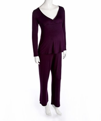 Purple Maternity & Nursing Pajamas