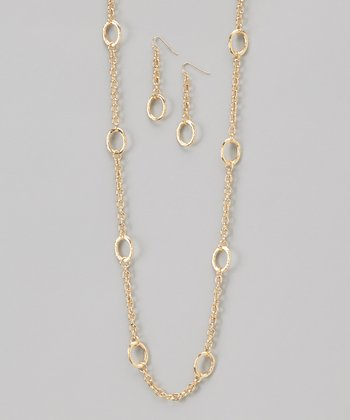 Gold Link Necklace & Earrings