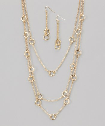 Gold Triple-Layer Station Necklace & Earrings