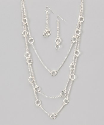 Silver Triple-Layer Station Necklace & Earrings