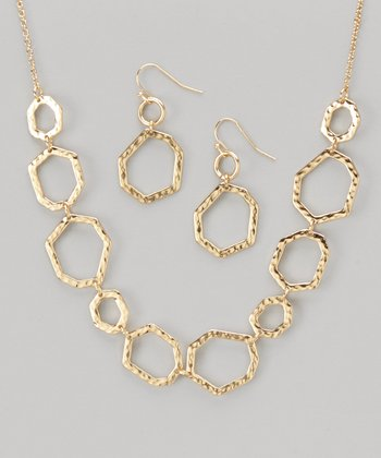 Gold Hammered Hexagonal Necklace & Earrings