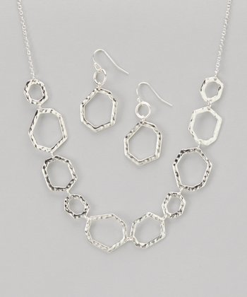 Silver Hammered Hexagonal Necklace & Earrings
