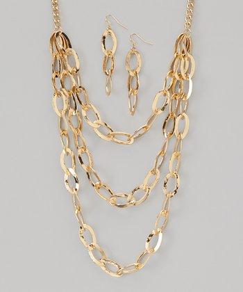 Gold Triple-Layer Necklace & Earrings