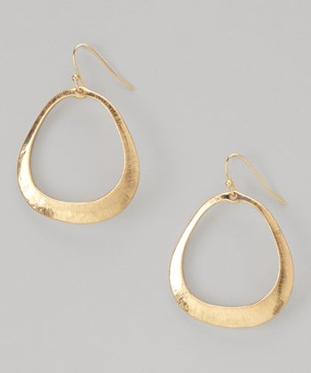 Gold Etched Teardrop Earrings