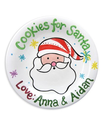 Green 'Cookies for Santa' Personalized Plate