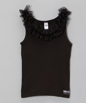 Black Ruffle-Neck Tank - Infant, Toddler & Girls