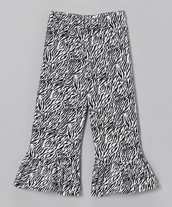Black & White Zebra Corduroy Ruffle Pants - Infant, Toddler & Girls