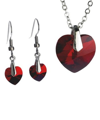 Ruby Heart Pendant Necklace & Drop Earrings